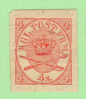DEN SC #13a MH  1864 Royal Emblems Imperf W/some Tiny Gum Thins - 1864-04 (Christian IX)