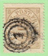 DEN SC #14 1868 Royal Emblems W/blunt Perfs @ T, CV $95.00 - Used Stamps