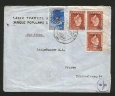 GREECE-CZECHOSLOVACIA-TRAVELED CENSORED LETTER-1947. - Cartas