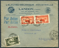 1932 Casablanca Maroc L'Ectro Mecanique Industrielle Diamant Landoy UNIS France Airmail Advertising Cover - Fribourg - Morocco (1891-1956)