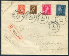 1936 Belgium Mechelen Malines Registered Cover - Dieburg Germany - Covers & Documents