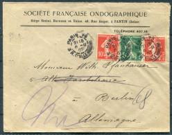 1907 France Societe Francaise Ondographique Paris Cover - Berlin Germany - Covers & Documents