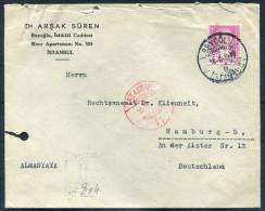 1939 Turkey Beyoglu Istanbul Dr Arsak Suren Registered Einschreiben Cover - Hamburg Germany - 1921-... Republic
