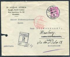 1939 Turkey Beyoglu Istanbul Dr Arsak Suren Registered Einschreiben Cover - Cambs Hamburg Germany - 1921-... Republic