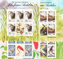 BIRDS -  1985- AUDUBON BIRDS SET OF 4  X SHEETLETS OF 5 + LABELS   MINT NEVER HINGED,SG CAT £34 - Pigeons & Columbiformes