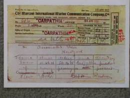 TITANIC DISASTER CARPATHIA TELEGRAM - MARINE ART 1990S NO 8 - Steamers