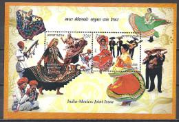 Indien 2010 India-Mexico: Joint Issue ** Blockausgabe ** MNH Miniature Sheet Traditional Ladies Dances Tänze Mexiko - Indien