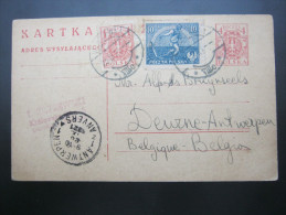 1921, Ganzsache  Nach  Belgien - 1919-1939 Republic