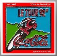 SUPER PIN´S CYCLISME-Coca Cola : Coureur TOUR De FRANCE 92 En Action, Sonsor COCA-COLA - Cyclisme