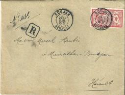 Enveloppe -  Expédiée  De   Roujan   ( Herault )   à  Destination  De  Maureilhan - Ramejan   ( Herault )  R  En Noir  N - 1877-1920: Periodo Semi Moderno