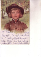 Scoutismo- CARTOLINA A COLORI DI GIOVANE BOYSCOUT-- Viaggiata 5 10 1927 - Scoutismo