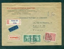 Lettre Recommandé Tarif Express Du 1.1.1964 Prague Pour Paris, Entete Fédération Antifasciste Tchèque - Guerre De 1939-45