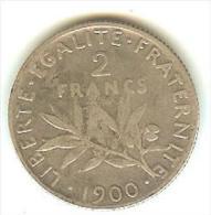 2frs semeuse ) argent - 1900  ( tres  rare )