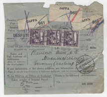 Pal�stina Michel No. 70 auf Paketkarte 1928