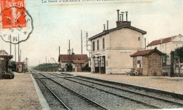 ERAGNY - LA GARE ET L'HOTEL THIRION - SUPERBE CARTE - COLORISEE -  TOP !!! - Other Municipalities