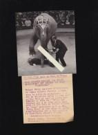 Photo De Presse - Cirque - Robert Dhéry Dompteur D'éléphant Au Gala De L'Union, Avec Article Commentaire - Non Classés