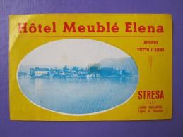 HOTEL ALBERGO PENSIONE CAMPING MEUBLE ELENA STRESA NO ITALIA ITALY TAG DECAL STICKER LUGGAGE LABEL ETIQUETTE AUFKLEBER - Hotel Labels