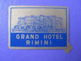 HOTEL ALBERGO PENSIONE GRAN GRAND RIMINI ITALIA ITALY TAG DECAL STICKER LUGGAGE LABEL ETIQUETTE AUFKLEBER - Hotel Labels