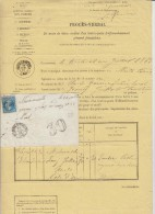### PROCES-VERBAL ###  LETTRE TAXEE POUR TIMBRE AYANT DEJA SERVI ### 1863 ### LETTRE DE ST LEGER/D'HEUNE POUR NUIST###