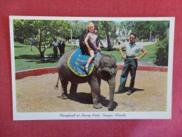 Girl on Elephant with Monkey  Fairyland in Lowry Park   Florida> Tampa  -   ---- --ref 1643