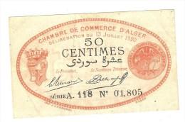 Algérie ) 50 Centimes - Chambre De Commerce D´alger - Rouge-noir ( TTB ) Du 13 JUILLET 1920 - Chamber Of Commerce