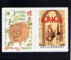N° 4001B ANNEE DU COCHON LOGO PASSION ADHESIF COTE 15 EUROS MAURY - Personnalisés