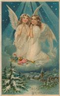 """ENFANTS - LITTLE GIRL - MAEDCHEN - Jolie Carte Fantaisie Gaufrée Fillettes Anges Jouets """"Joyeux Noël"""" (embossed PC - Weihnachten"""