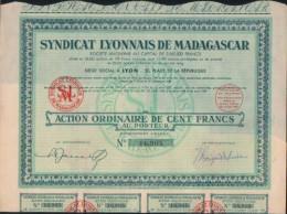 ACTION ORDINAIRE-SYNDICAT LYONNAIS DE MADAGASCAR- 100FRANCS - Afrique