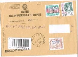 1451 - Italia  3.3.4 Raccom. Ministero Mod.9 Affr.  €. 1,24 + £. 3.000 Alti Valori + €. 0,01 La Donna Nell'Arte - 1946-.. République