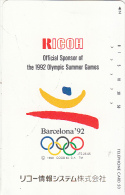 JAPAN - Ricoh, Official Sponsor Of The Barcelona 1992 Olympics, NTT Telecard 50 Units(110-011), Used - Jeux Olympiques