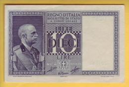 ITALIE - Billet De 10 Lire. 1939-44. Pick: 25c. Presque NEUF - [ 1] …-1946 : Koninkrijk