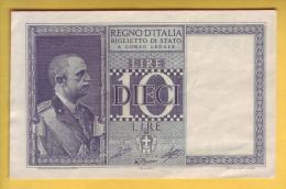 ITALIE - Billet De 10 Lire. 1939-44. Pick: 25c. SUP+ - [ 1] …-1946 : Koninkrijk
