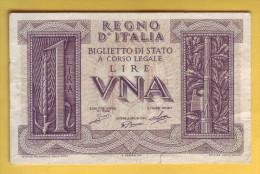 ITALIE - Billet De 1 Lira. 14-11-1939. Pick: 26. SUP - [ 1] …-1946 : Koninkrijk