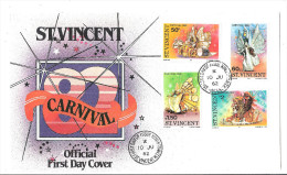 St Vincent 1982 Carnival 655-8 FDC First Day Cover Carnival Costumes Music Themes Cultures - Stamps