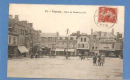 18 VIERZON PLACE DU MARCHE AU BLE ANIMEE  COMMERCES  BON ETAT   TIMBREE   1913  ECRITE    2 SCANS - Vierzon