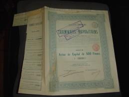 """Action""""Tramways Napolitains"""" Napoli Naples Italie  1906 Bon état,reste Des Coupons N°13155 - Chemin De Fer & Tramway"""