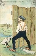 Carte Illustrateur Humour - Uriner à Travers Palissade - Oie - Humour