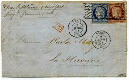 CERES YT N�4 + 6 / PARIS pour LA HAVANNE / CUBA / 2 Avril 1851 / T15 Paris + Grille sans fin / Signe CALVES + LAROZE RRR