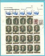 """1544+1964+2069 op Dokument REGIE DES POSTES / """"Demande de R�expedition"""" met stempel BRUXELLES"""