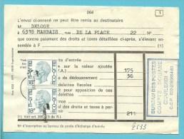 1963 ontwaard met de T-stempel, op dokumet (douane taks) met stempel CHARLEROI BUREAU DES POSTES / DOUANE !!!