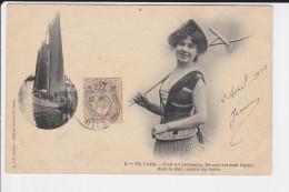 CPA FEMME MONTAGE PECHE PECHEUSE BATEAU UN CRABE  C EST UN PARESSEUX  ETERNEL FEMININ 1903 - Femmes