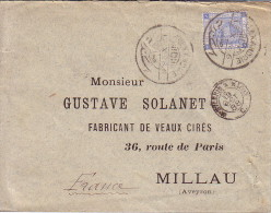 EGYPTE - ALEXANDRIE - 13-10-1888 - ENVELOPPE POUR LA FRANCE CACHET AMBULANT D'ENTREE MONTCENIS A MACON. - Ägypten