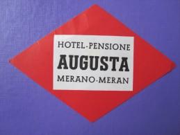 HOTEL ALBERGO PENSIONE AUGUSTA MERAN MERANO ITALIA ITALY TAG DECAL STICKER LUGGAGE LABEL ETIQUETTE AUFKLEBER