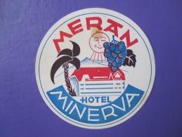 HOTEL ALBERGO PENSIONE MINERVA MERAN MERANO ITALIA ITALY TAG DECAL STICKER LUGGAGE LABEL ETIQUETTE AUFKLEBER