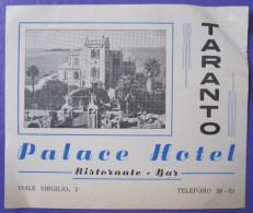 HOTEL ALBERGO PENSIONE NO PALACE TARANTO ITALIA ITALY TAG DECAL STICKER LUGGAGE LABEL ETIQUETTE AUFKLEBER