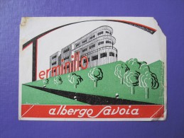 HOTEL ALBERGO PENSIONE NO SAVOIA TERMINILLO ITALIA ITALY TAG DECAL STICKER LUGGAGE LABEL ETIQUETTE AUFKLEBER