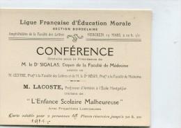 BORDEAUX LIGUE FRANCAISE D EDUCATION MORALE CONFERENCE CARTE VALABLE POUR 2 PERSONNES - Programs