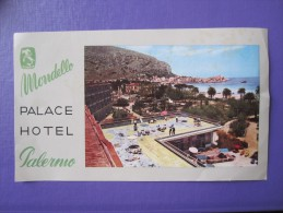 HOTEL ALBERGO PENSIONE NO PALACE MONDELLO PALERMO ITALIA ITALY TAG DECAL STICKER LUGGAGE LABEL ETIQUETTE AUFKLEBER