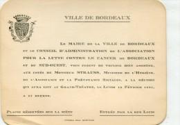 BORDEAUX REUNION AU GRAND THEATRE LE LUNDI 12 FEVRIER 1925 POUR LA LUTTE CONTRE LE CANCER - Vieux Papiers