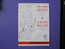 HOTEL ALBERGO PENSIONE ARTISTI BAGLIONI PERUGIA ITALIA ITALY TAG DECAL STICKER LUGGAGE LABEL ETIQUETTE AUFKLEBER